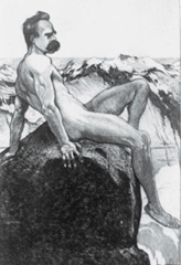 Naked Nietzsche on a mountain