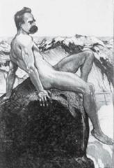 Naked Nietzsche on a mountain